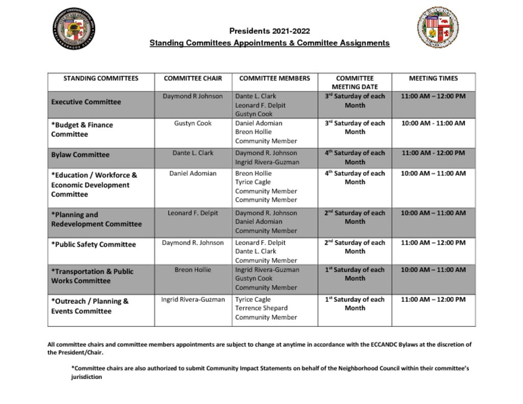thumbnail of Standing Committees & Committee Assignments